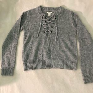 Forever 21 lace up gray sweater